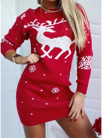 Natale Stampa Cervo Girocollo Casuale Abito maglione
