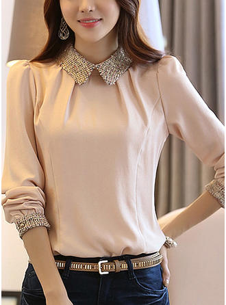 Chiffon Lapel Plain Long Sleeves Casual Blouses