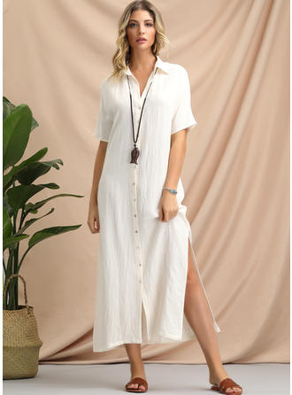 Solid Short Sleeves Shift Midi Casual/Vacation Dresses
