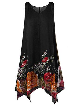 Print/Floral Sleeveless Shift Knee Length Casual/Elegant/Plus Size Dresses