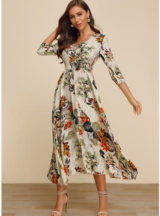 Print/Floral 3/4 Sleeves A-line Midi Casual Dresses