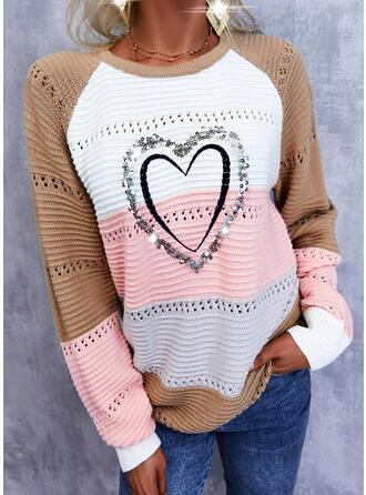 Impresión Trozos de color Corazón Cuello Redondo Casual Suéteres