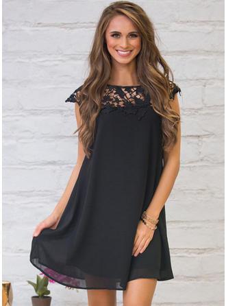 Chiffon With Lace Above Knee Dress