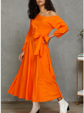Solid 1/2 Sleeves A-line Casual Midi Dresses
