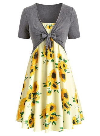 Sunflower Print Short Sleeves A-line Knee Length Casual/Elegant/Plus Size Dresses