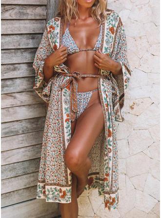Blommig Elegant Strandklänningar Baddräkter