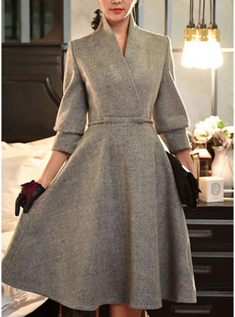 Solid 3/4 Sleeves A-line Midi Party/Elegant Dresses