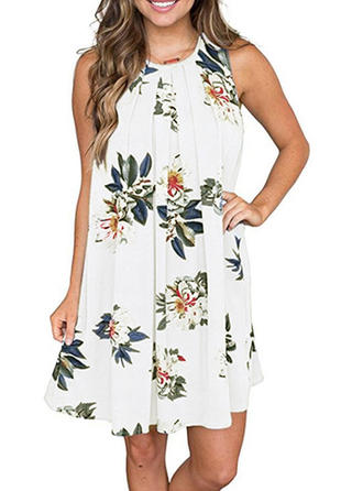 Floral Round Neck Above Knee Shift Dress