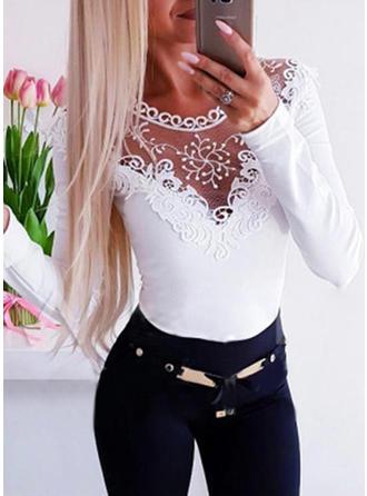 Solido Pizzo Girocollo Maniche lunghe Casuale Elegante Maglieria Camicie