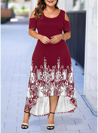 Print Cold Shoulder Sleeve A-line Asymmetrical Casual/Plus Size Dresses