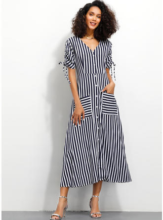 Striped Short Sleeves A-line Midi Casual Dresses