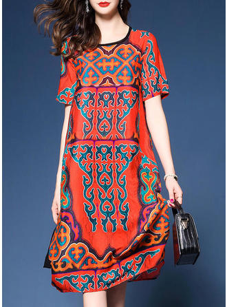 Print Short Sleeves Shift Midi Casual/Boho Dresses