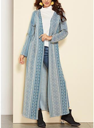 Mélange de coton Manches longues Striped Cardigans