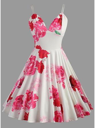 Wydrukować Kwiatowy Pasek Kolano Długość Sukienka Trapezowa