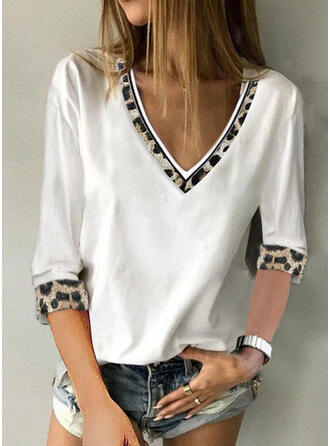 Print Patchwork Leopard V-Neck 3/4 Sleeves Casual Blouses