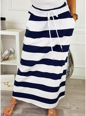 Polyester Striped Maxi Pencil Skirts