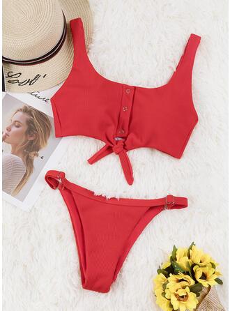 Color Sólido Cintura Baja Anudado Correa Sexy Bikinis Trajes de baño