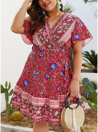 Print/Floral Short Sleeves A-line Above Knee Casual/Boho/Vacation/Plus Size Dresses