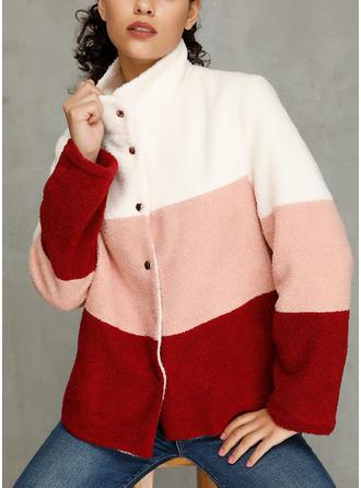Poliészter Hosszú ujjú Színblokk Faux Fur kabát