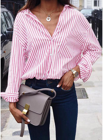 Polyester Spandex Lapel Striped Long Sleeves Shirt Blouses