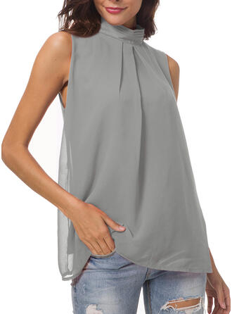 Solid Stand-up Collar Sleeveless Casual Elegant Blouses