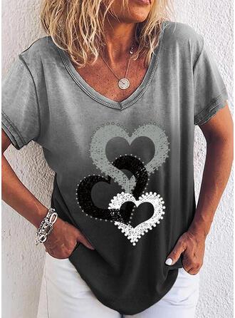 Gradient Heart V-Neck Short Sleeves T-shirts