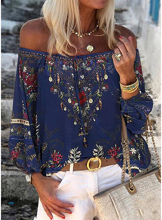 Print Bloemen Off the Shoulder Lange Mouwen Casual Pailletten Blouses