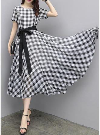 Plaid Round Neck Knee Length A-line Dress