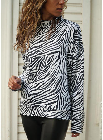 Animal Print Stand collar Long Sleeves Casual Knit Blouses