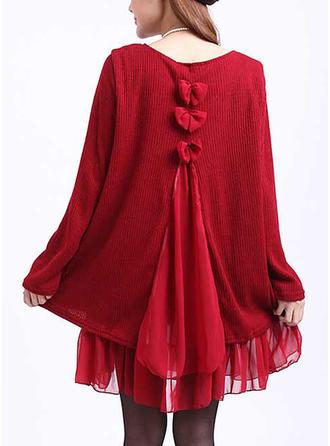 Solid Round Neck Sweater Dress