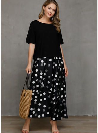 PolkaDot Short Sleeves Shift Casual Maxi Dresses