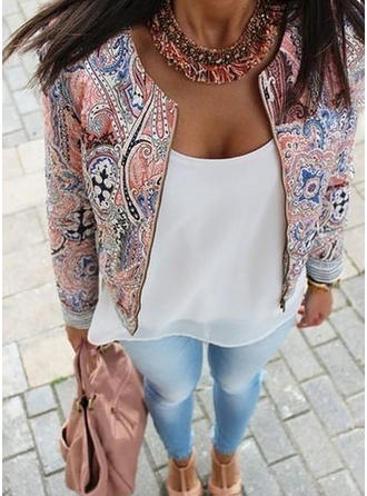 Polyester Long Sleeves Floral Jackets