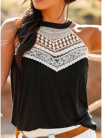 Patchwork Round Neck Sleeveless Casual Knit Tank Tops