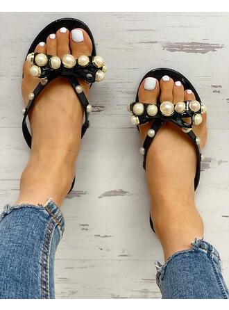 Women's PVC Flat Heel Sandals Peep Toe Slippers With Imitation Pearl shoes