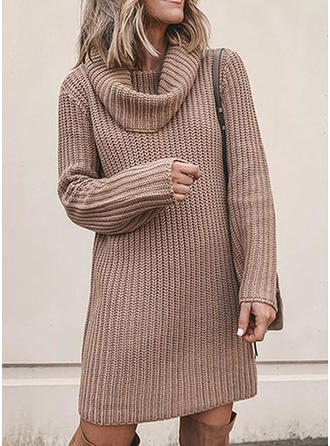 Solid Ribbed Chunky knit Crew Neck Sweaters