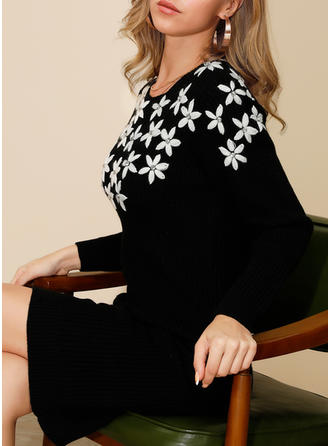 Print/Floral Long Sleeves Bodycon Knee Length Casual/Elegant Dresses