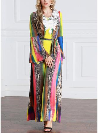 Print Appliques Round Neck Maxi A-line Dress