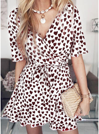 Print 1/2 Sleeves A-line Above Knee Casual Dresses