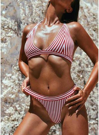 Stripe Halter V-neck Sexy Classic Bikinis Swimsuits