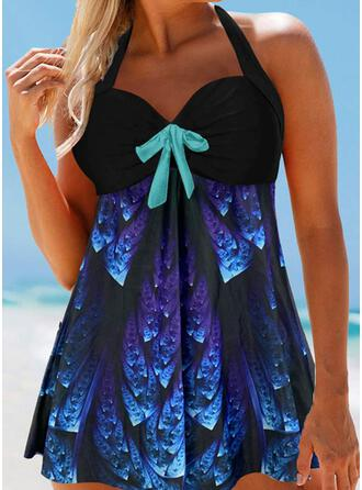 Print String Halter Vintage Swimdresses Swimsuits