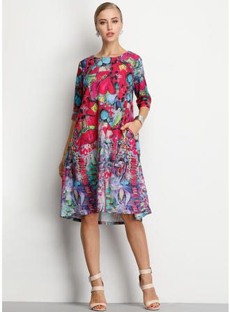 Floral 1/2 Sleeves Shift Midi Casual/Elegant Dresses