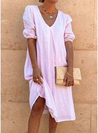Solid Short Sleeves/Puff Sleeves Shift Tunic Casual Midi Dresses
