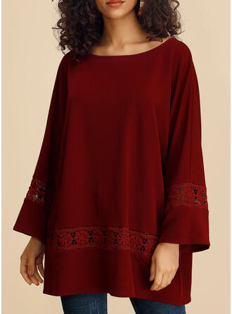 Solid Lace Round Neck Long Sleeves Casual T-shirts