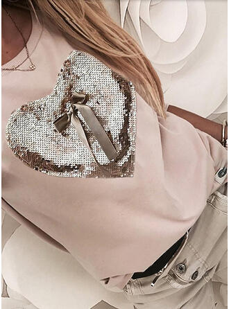 Bowknot Heart Sequins Round Neck Long Sleeves T-shirts