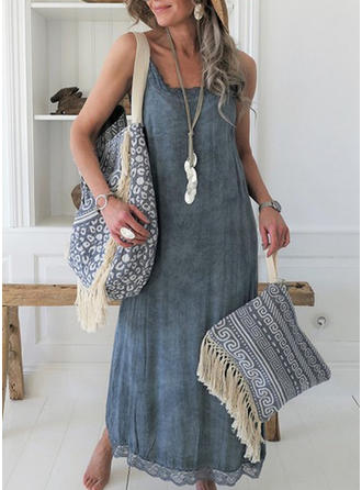 Lace/Solid Sleeveless Shift Maxi Casual Dresses