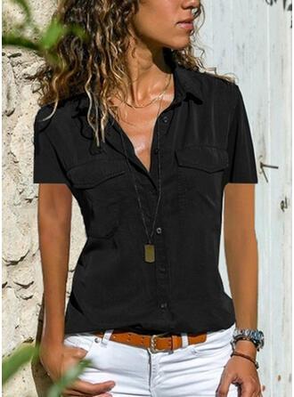 Düz / Tek (Renk) klapa Kısa kollu Düğmesiz Yakalı Günlük Elegáns Gömlekler