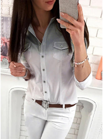 Cotton V Neck Patchwork 3/4 Sleeves Button Up Blouses