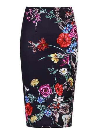 Baumwolle Blumen Knielänge Bodycon Röcke