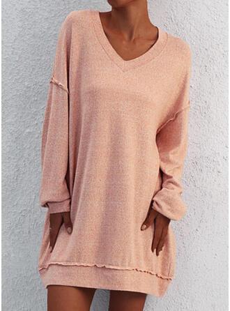 Einfarbig Lange Ärmel Shift Über dem Knie Freizeit Sweatshirt Kleider