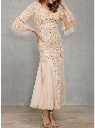 Sequins 3/4 Sleeves Sheath Maxi Party Dresses